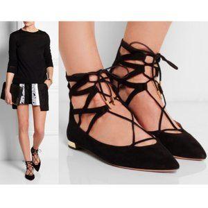 AQUAZZURA black suede Belgravia flats lace up